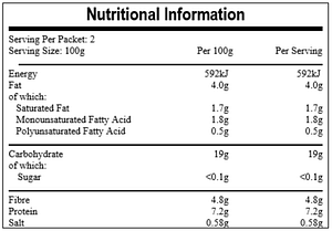 Dhal Curry nutritional information